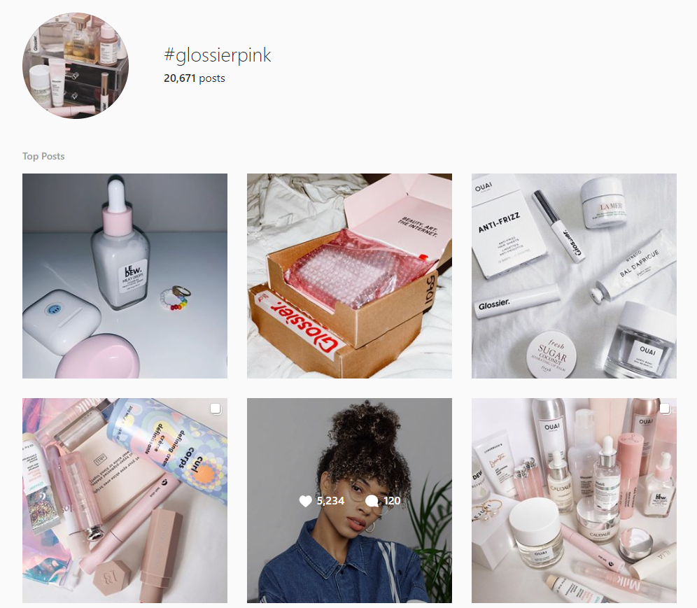 glossier-pink-campaing-example- instagram-hashtag