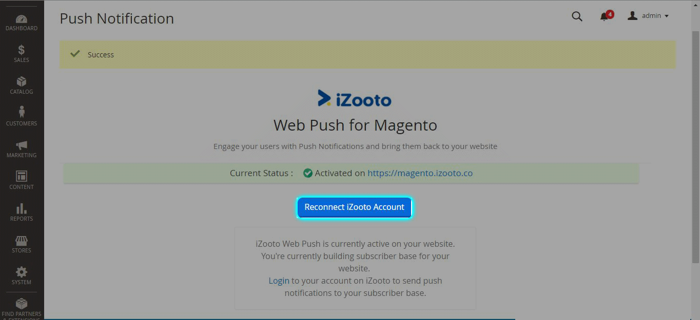 Connect iZooto Account