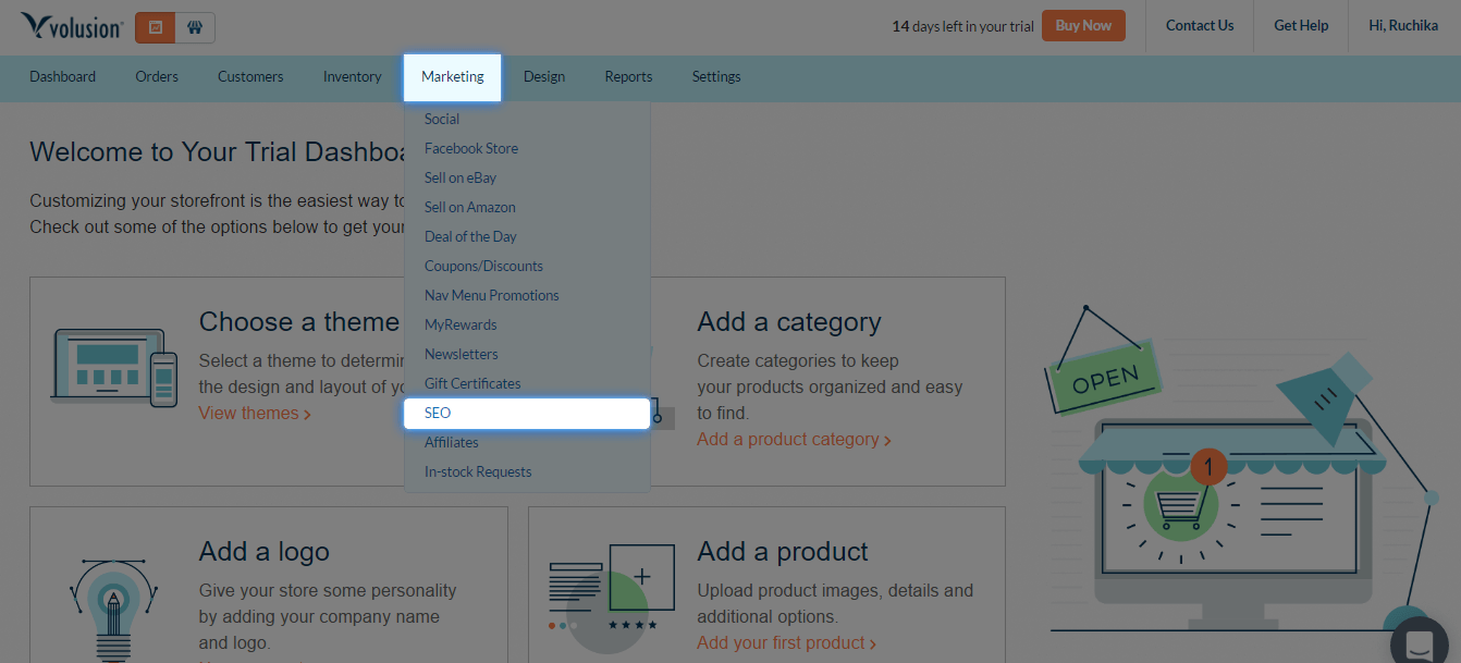 Volusion admin panel marketing dropdown menu
