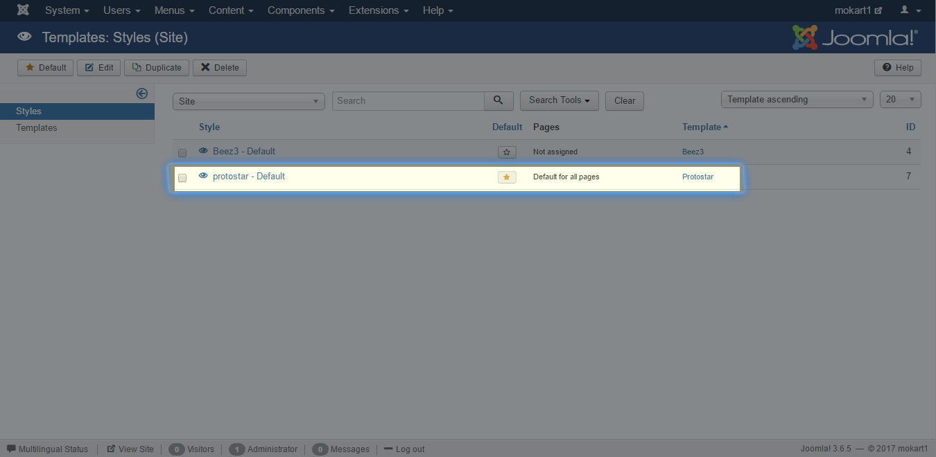 Checking active templates in Joomla Control Panel
