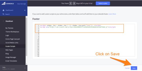 Adding iZooto JS code in BigCommerce