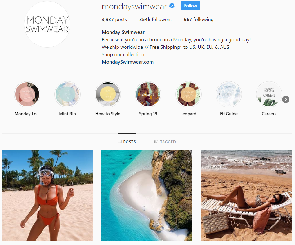 Monday-swimware- instagram-campaign-example