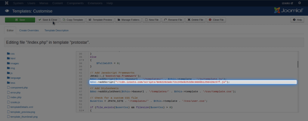 Add JS code to Joomla Site