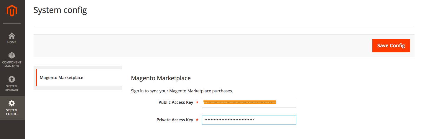 Magento Marketplace admin panel