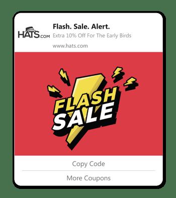 coupon affiliates flash sale web push notifications