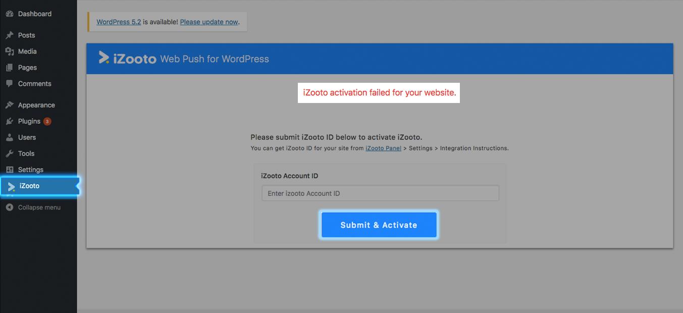 activate iZooto in WordPress with iZooto Id