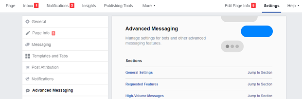 Steps to set up advanced settings for messenger push notifications