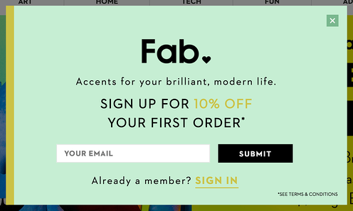 discounting email pop-up