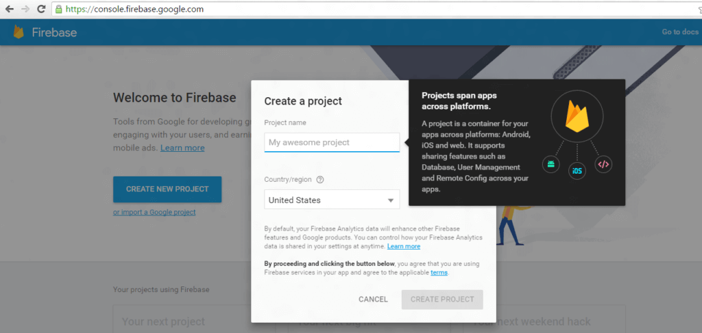 Create a new project with this Firebase Cloud Messaging Guide