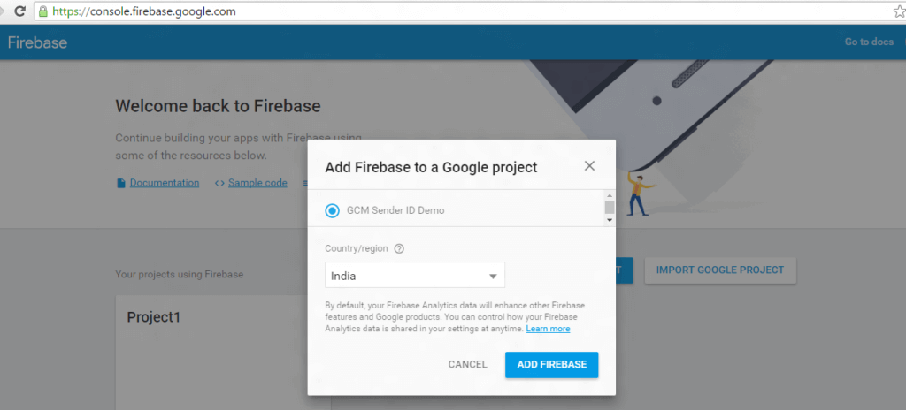 how to select the focus country/region using Create a new project with this Firebase Cloud Messaging Guide