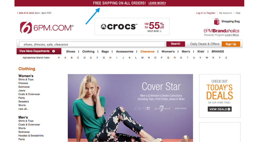 free shopping strip on ecommerce website