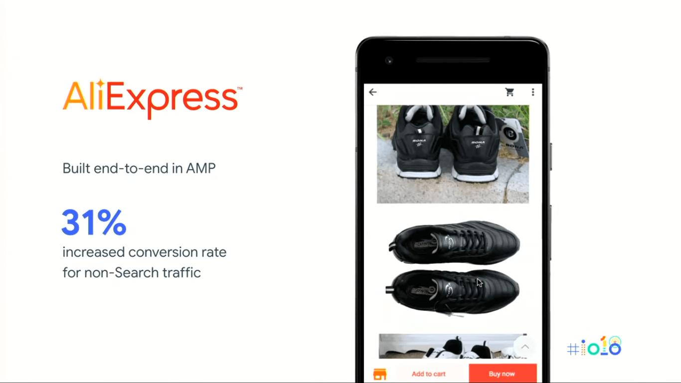google I/O 2018 AMP AliExpress example