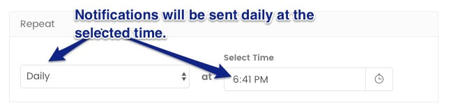 Setting the frequency of drip notification campaign to daily - marketing automation
