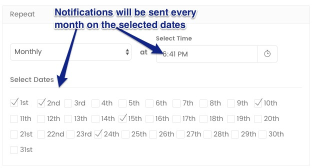 Drip Push Notification Campaigns which are executed basis the date of the month - marketing automation