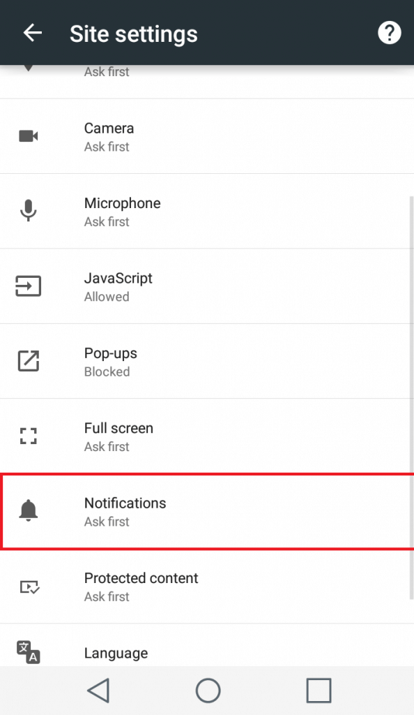 Disable Web Push Notifications on Chrome Mobile