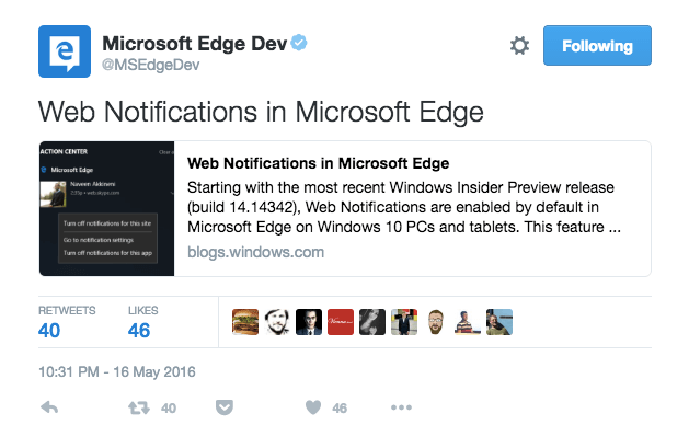 Microsoft supporting Edge Push Notifications