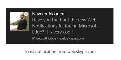 Push Notification on Microsoft Edge