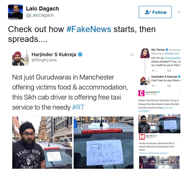 Example of a fake news on Twitter