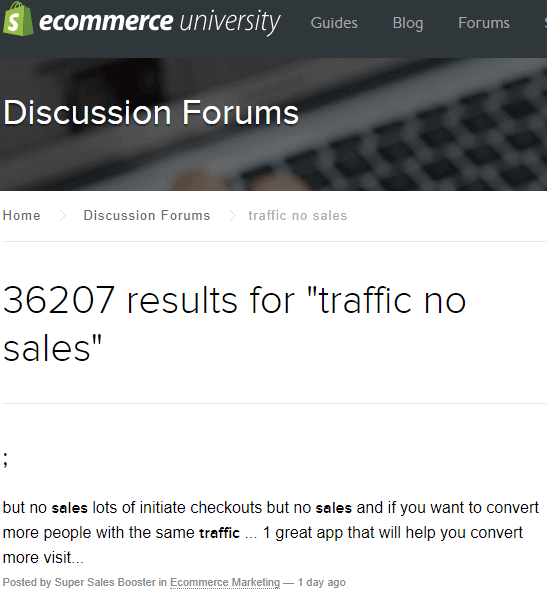 shopify forums traffic no sales