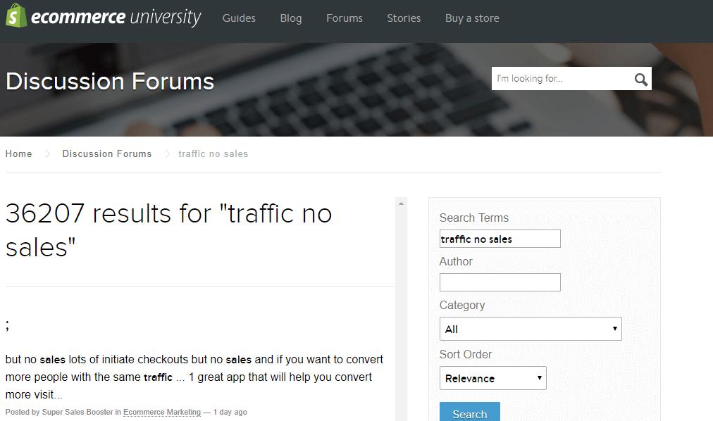 shopify forum - traffic no sales
