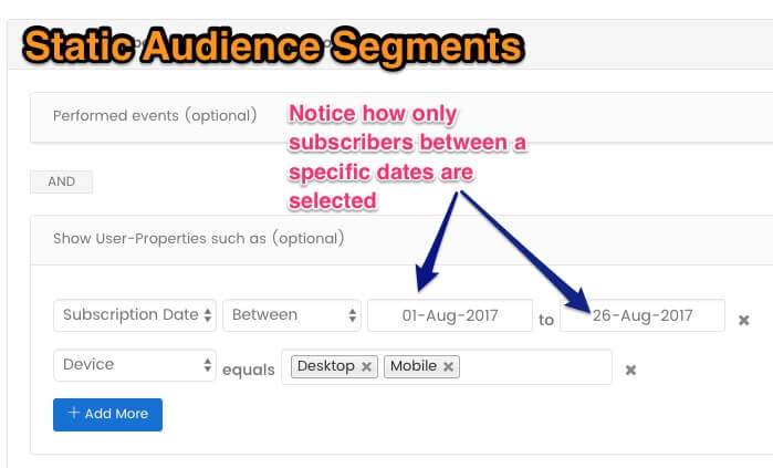 Static Audience Segments - marketing automation