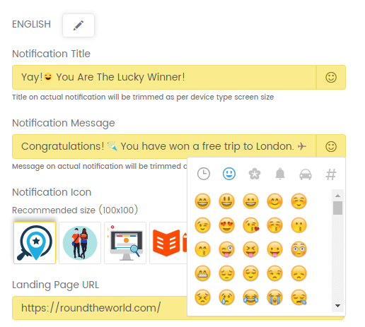 emoji in web push