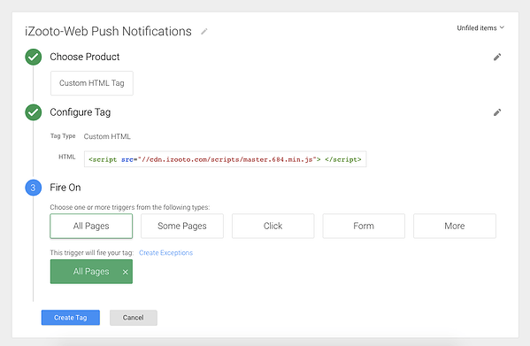 Adding tag with GTM