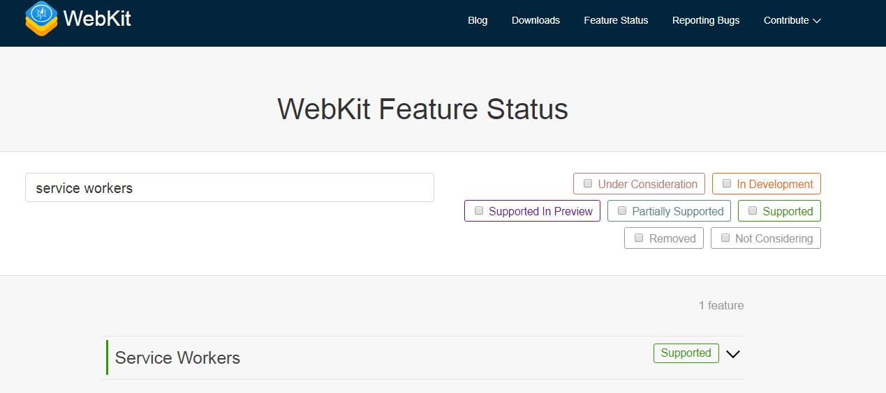 WebKit service worker status
