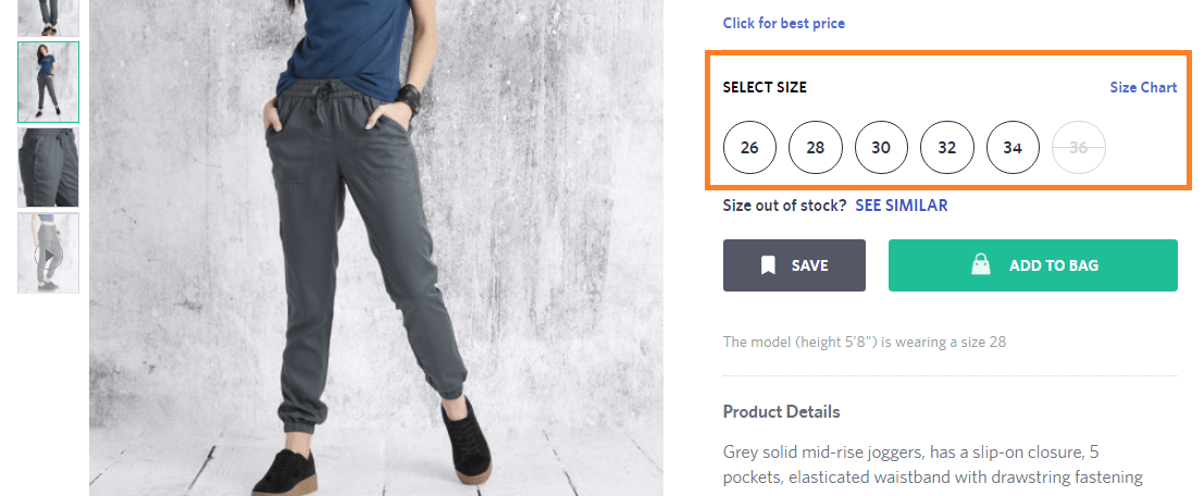 size chat on eCommerce store