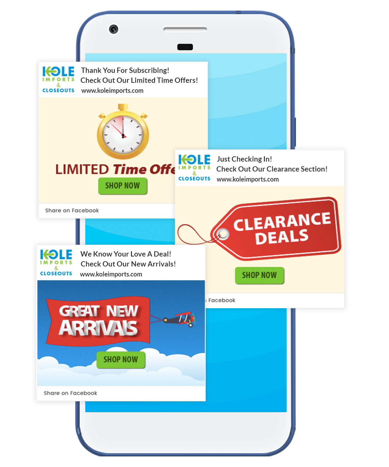 notification drip campaign with limited offers, clearance deals and new arrivals sent by Kole Imports