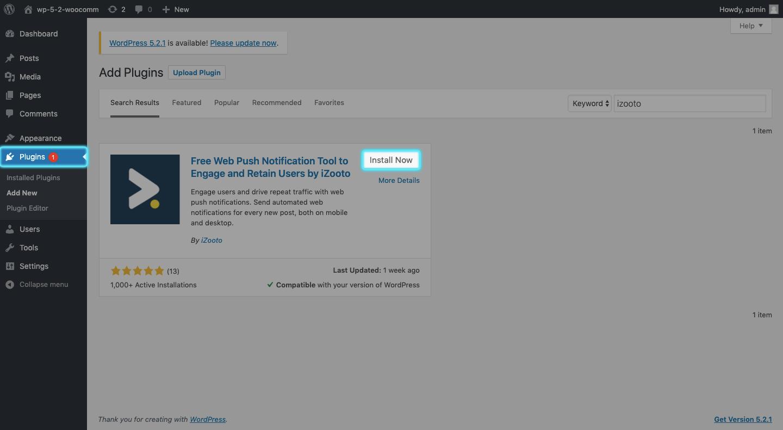 Install iZooto in WordPress