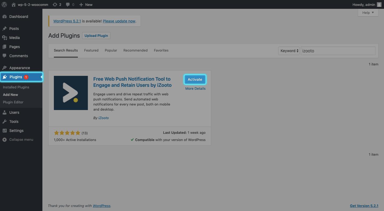 activating iZooto in WordPress