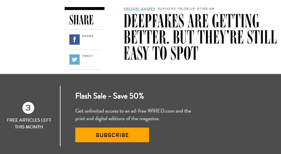 Example of a metered soft paywall from The Wired