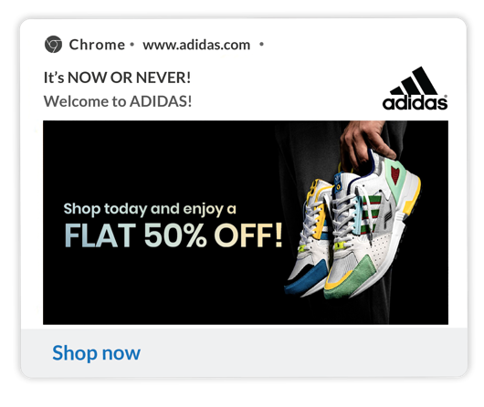 adidas Welcome Notification