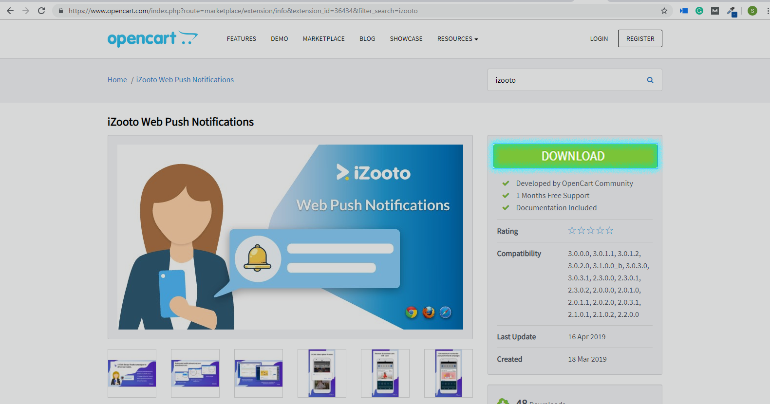 download iZooto extension from OpenCart