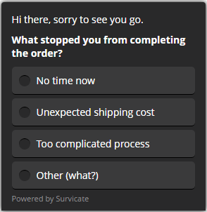 customer feedback example for cart abandonment