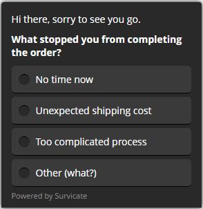 customer feedback example for cart abandonment