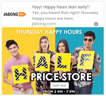 Jabong Happy Hours Push Notification