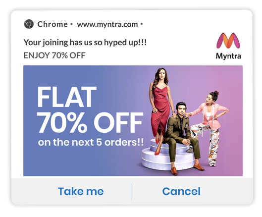 myntra welcome notification