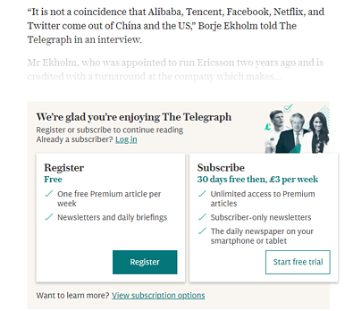 Example of a Freemium Soft Paywall from The Telegraph
