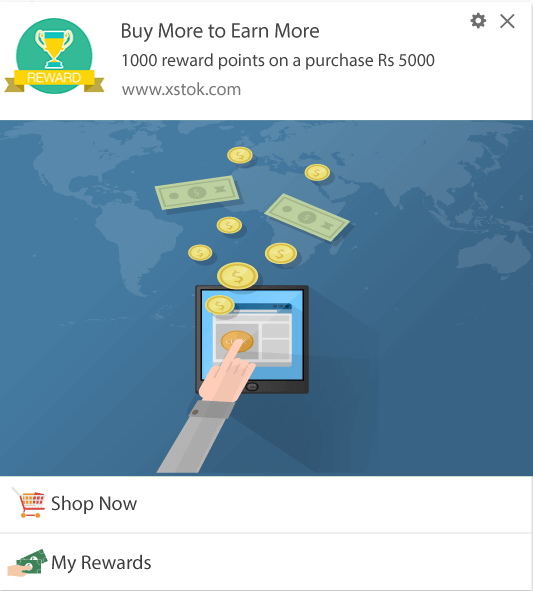 Notification Template for rewarding subscribers