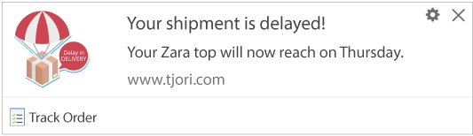 Notification Template to subscribers for providing shipment details