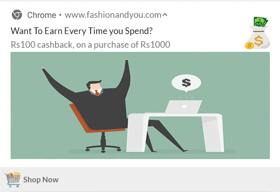 Notification Template for earning while spending more