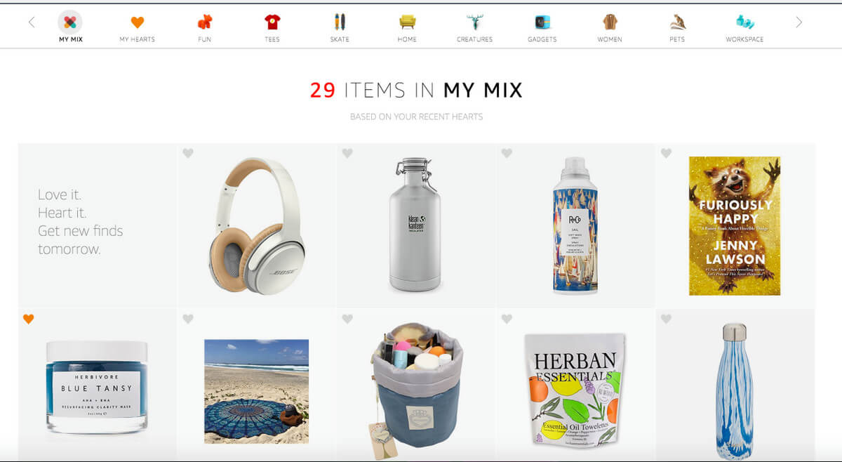 my-mix personalization example
