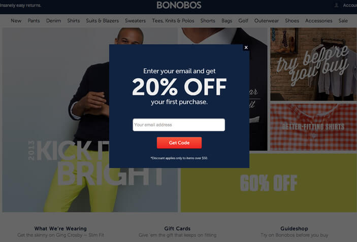 discount pop-ups for email subscription